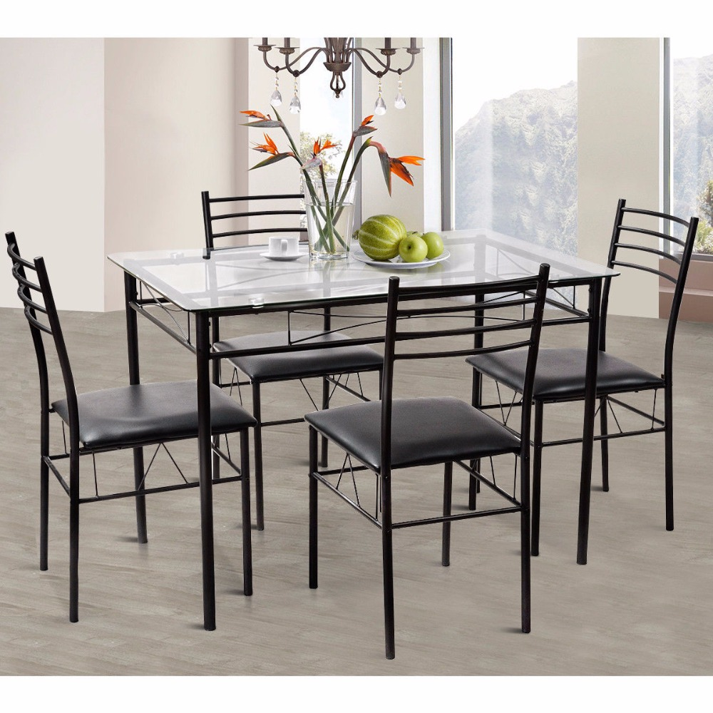 5pc Dining Set Modern Dining Room Tempered Glass Top Table 4 Upholstered Dining Chairs Kitchen Furniture Hw61400 Dining Set Modern Dining Setdining Room Aliexpress