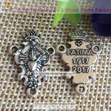 Chapelet rétro, pièce centrale de trois trous, placage argent antique 100, 2017 pièces/lot, médaille religieuse