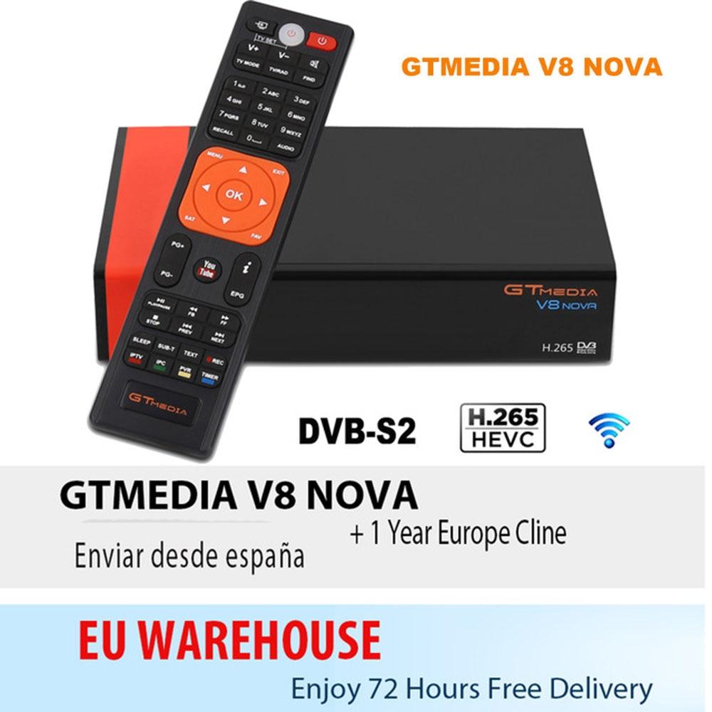 US $39 79 |1 Year Europe Cline Genuine Freesat GTMedia V8 Nova Full HD DVB  S2 Satellite Receiver Same V9 Super Upgrade From V8 Super Deco-in Satellite