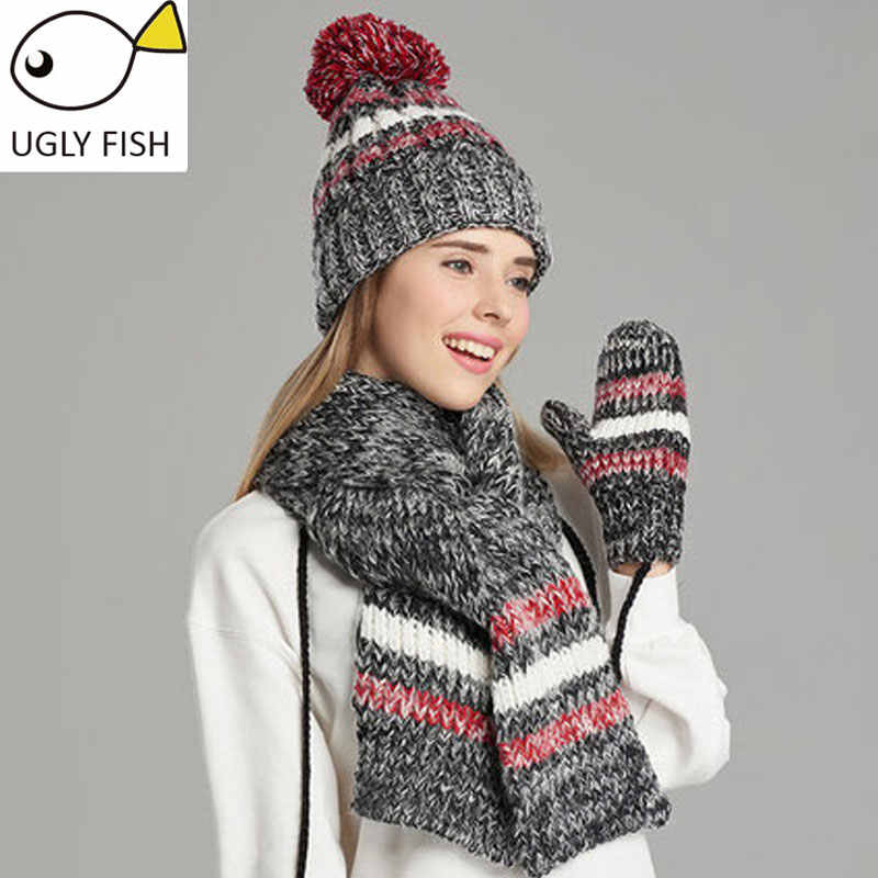 8865ea00a38 ... woman winter hat and gloves sets cotton fashion women hat scarf gloves  set solid hat and ...