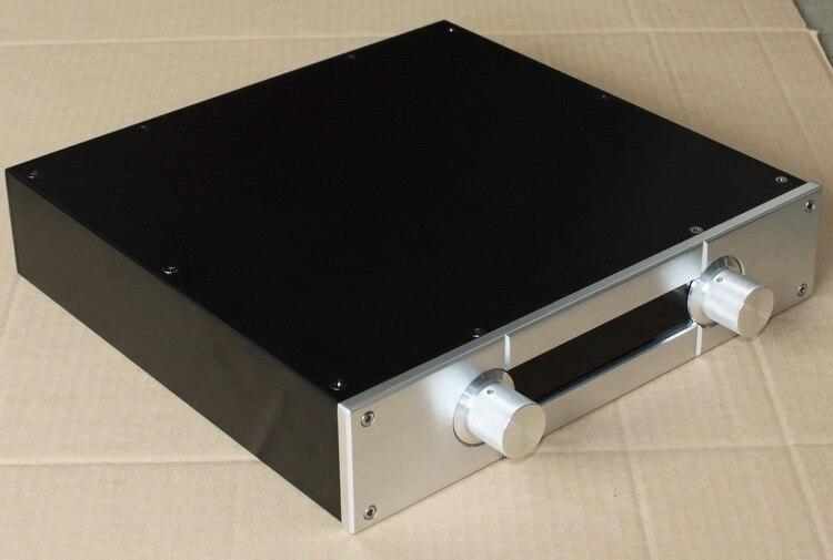 Tüketici Elektroniği'ten Amplifikatör'de 308*320*70 MM alüminyum güç amplifikatörü şasi/DIY ÖNCEDEN Amplifikatör durumda/Cam çerçeve ön amplifikatör kutusu