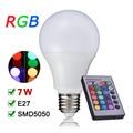 NEW E27 RGB LED Lamp 110V 220V 7W LED RGB Bulb 16 Colors Changeable Multiple colour IR Remote Lampara A80