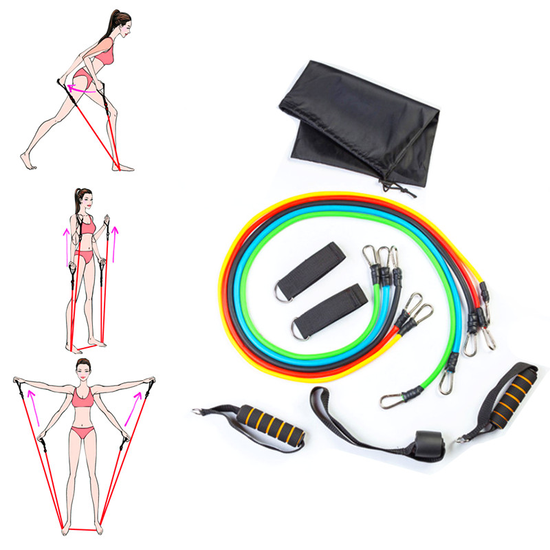 11pcs resistance band set fitness elastic rubber ring latex draw rope sports rubber chest expander with gym door anchor