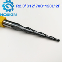 1pc R2 0 D12 70 120L 2F HRC55 Tungsten Solid Carbide Tapered Ball Nose End Mills