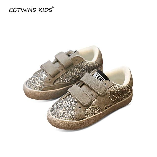 CCTWINS KIDS autumn baby girl silver sneaker for boy sport sneaker children blue glitter shoe kid brand sneaker PU leather F625