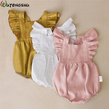 Newborn Baby Girls Rompers Ruffle Linen Cotton Baby Girl Clothes Spring Summer Backcross Jumpsuits Outfits Sunsuit Baby Clothing(China)