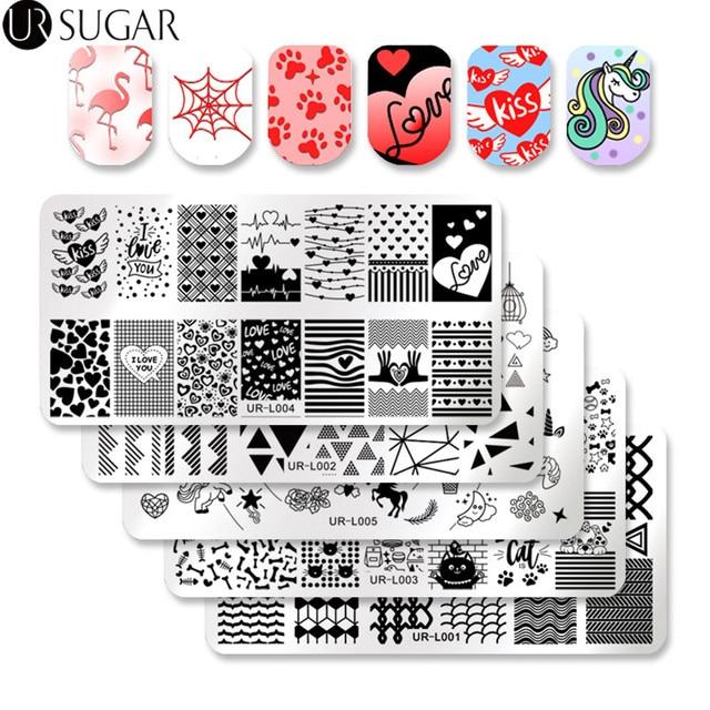 UR azúcar 5 piezas arte de uñas estampado placa beso gato uñas arte imagen placa manicura uñas arte plantilla rectángulo sello polaco