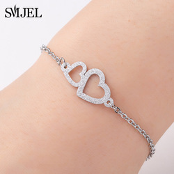 SMJEL Love Heart Bracelet Women Gold Stainless Steel Jewelry bisuteria Link Chain Bangles Wedding Brides Lovers Valentine Gift