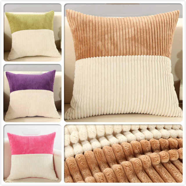 US $7.59 5% OFF|NEW Luxurious Big Square 48cm Patchwork Soft Plush Soft  Comfortable Warm Cushions Sofa Back Cusion Covers Car Office Pillow Case-in  ...