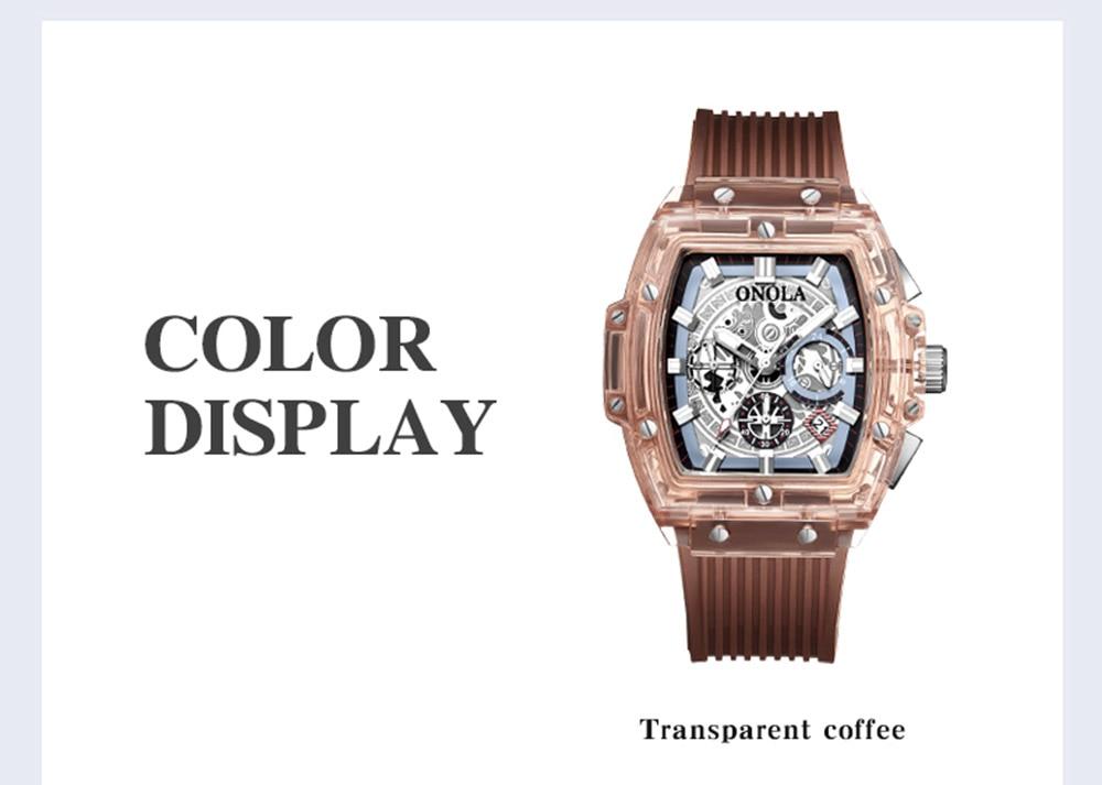 luxury mens wristwatches Transparent quartz waterproof Multifunction man watches square white fashion clocks