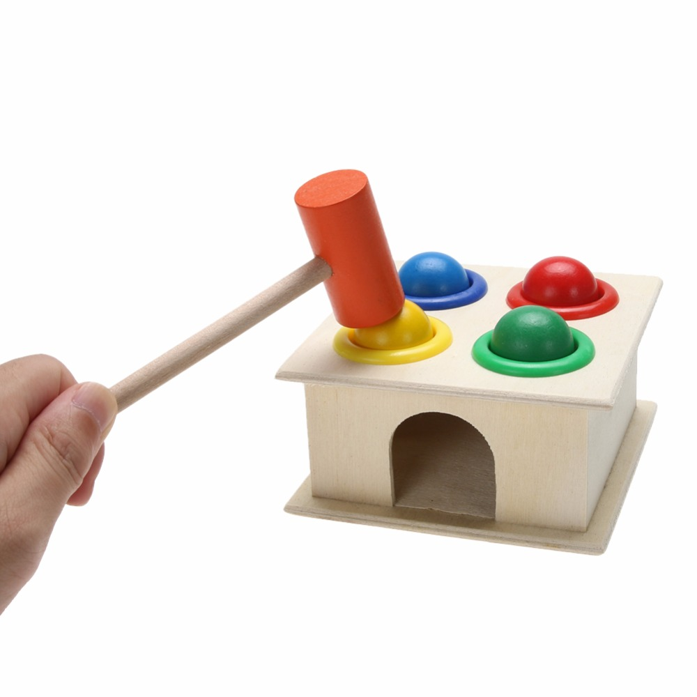 Wooden Ball Hammer Box Toy Children Early Learning Educational Toys Baby Colorful Hammering Wooden Ball Wooden Toys 3d magic maze ball 100 levels intellect ball rolling ball puzzle game brain teaser children learning educational toys or