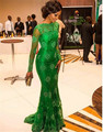 Vestido de festa Mangas Compridas Vestidos de Noite Verde Colher Lace Sereia Tribunal Trem 2016 Vestido de Festa Elegante Tribunal Trem
