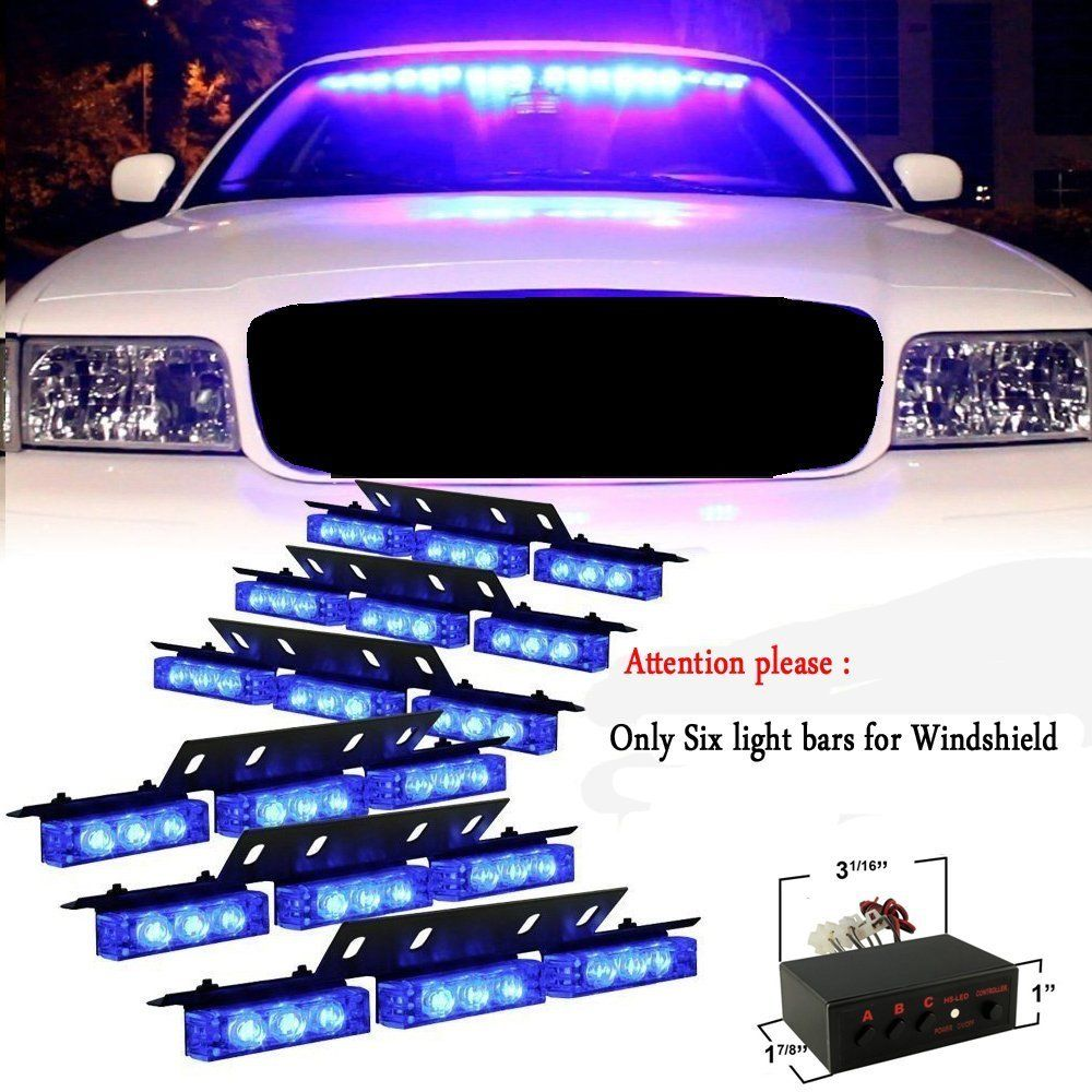 CYAN SOIL BAY 54 LED Emergency Vehicle Strobe Lights Bars Warning Deck Dash Grille Blue 54 led emergency vehicle strobe lights bars warning deck dash grille amber white