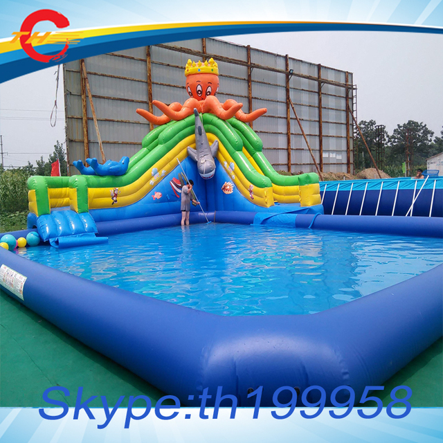 Free Air Shipping To Door 12 10 5mh Giant Commercial Octopus Inflatable Pool Slide Inflatable