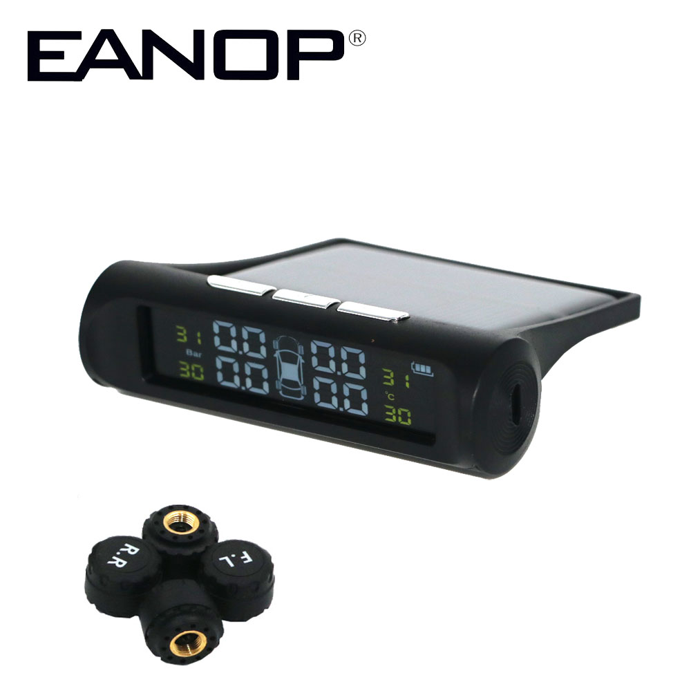 EANOP Car font b TPMS b font Tire Pressure Monitoring System Solar Power Charging LCD Dispaly