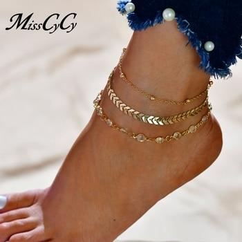 MissCyCy Fashion Crystal Anklet Set Vintage Handmade Ankle Bracelet for Women Party Summer Beach Accessories 3Pcs/Set