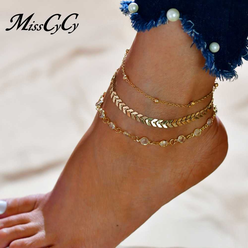 Detail Feedback Questions about MissCyCy Fashion Crystal Anklet Set Vintage  Handmade Ankle Bracelet for Women Party Summer Beach Accessories 3Pcs Set  on ... d93c736ed480