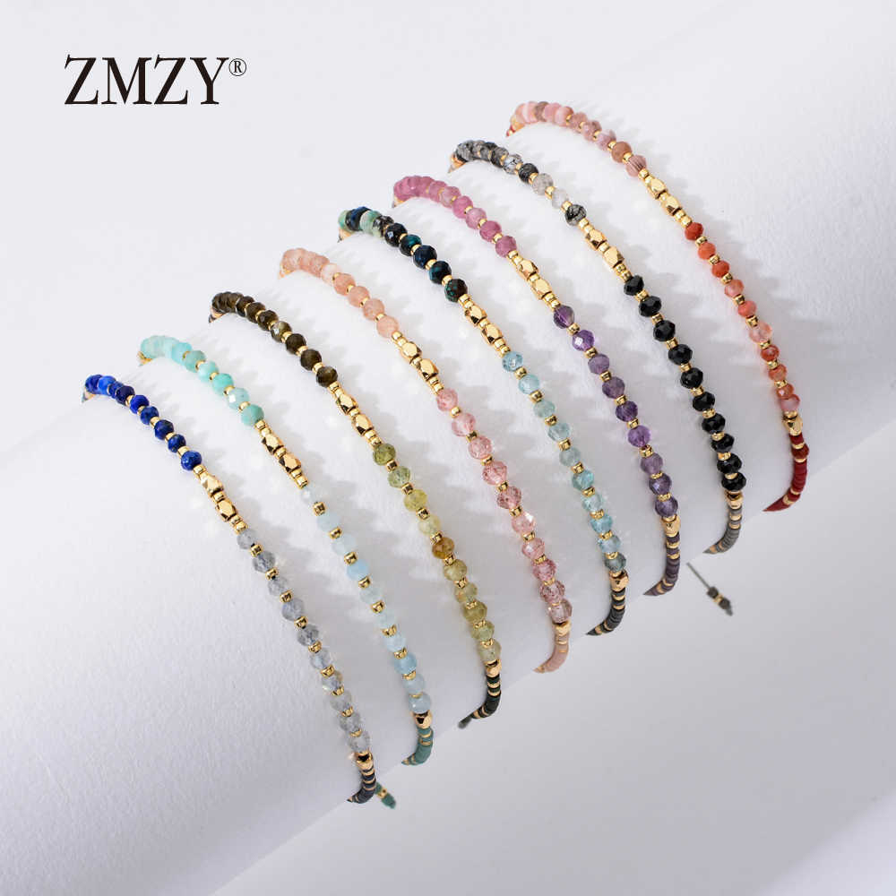 ZMZY Fashion New Natural Stone Beaded Bracelets for Women Adjustable Multi Color Miyuki Beads Jewelry Rope Chain Bracelet Gift