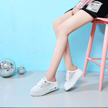Liren 2019 Summer Fashion Casual Comfortable Lady Slippers High Platform Off White Shoes Brand Wrapped Round Toe Womens