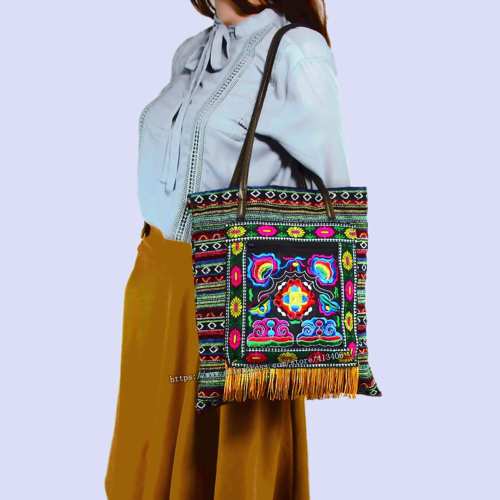 Free shipping Vintage Hmong Tribal Ethnic Thai Indian Boho shoulder bag message bag linen handmade embroidery Tapestry SYS-1012B