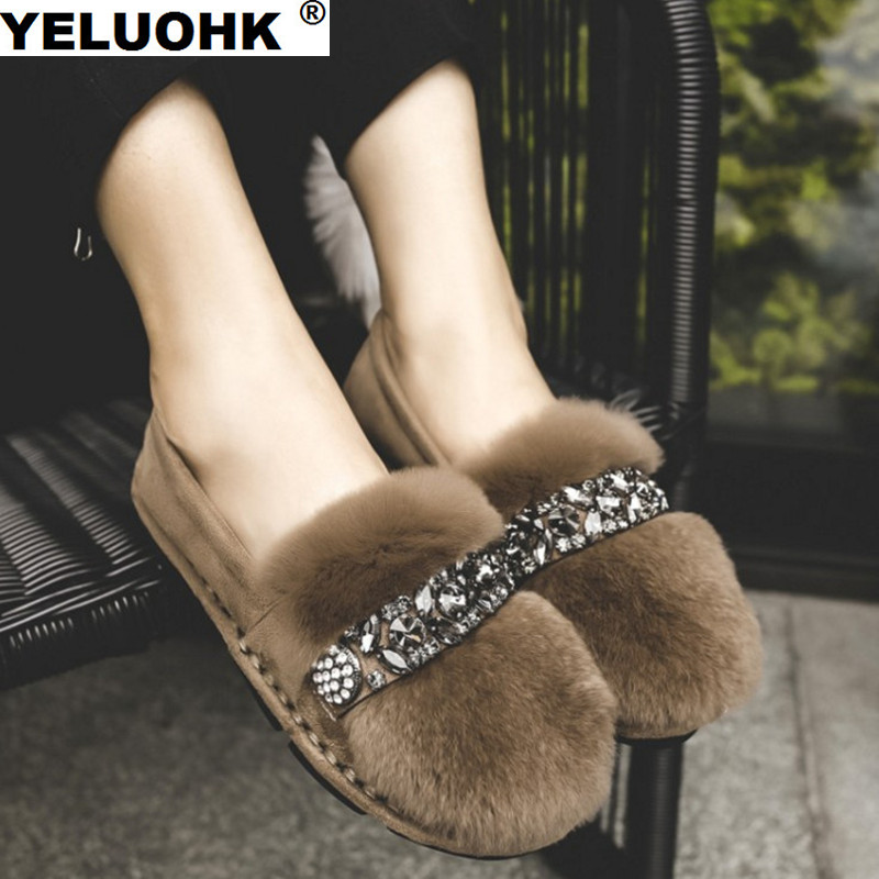 2017 New Crystal Fur Women Shoes Flat Casual Winter Snow Boots Shoes Woman Fashion Plush Warm Ankle Boots For Women