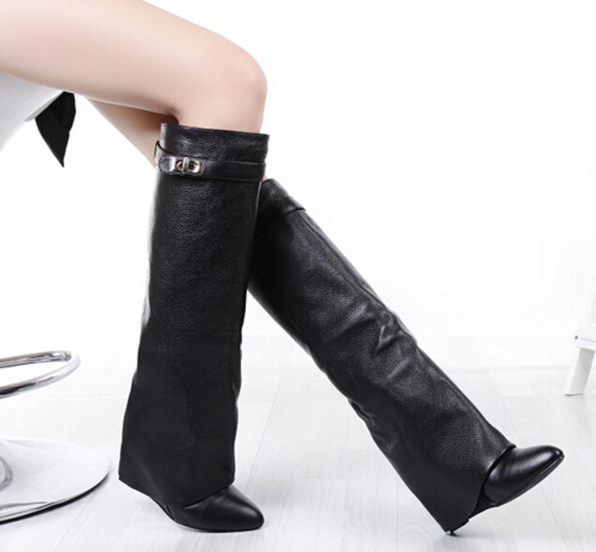 2015 newest design metal buckel decor wedge knee high woman winter boots elegant dress shoes