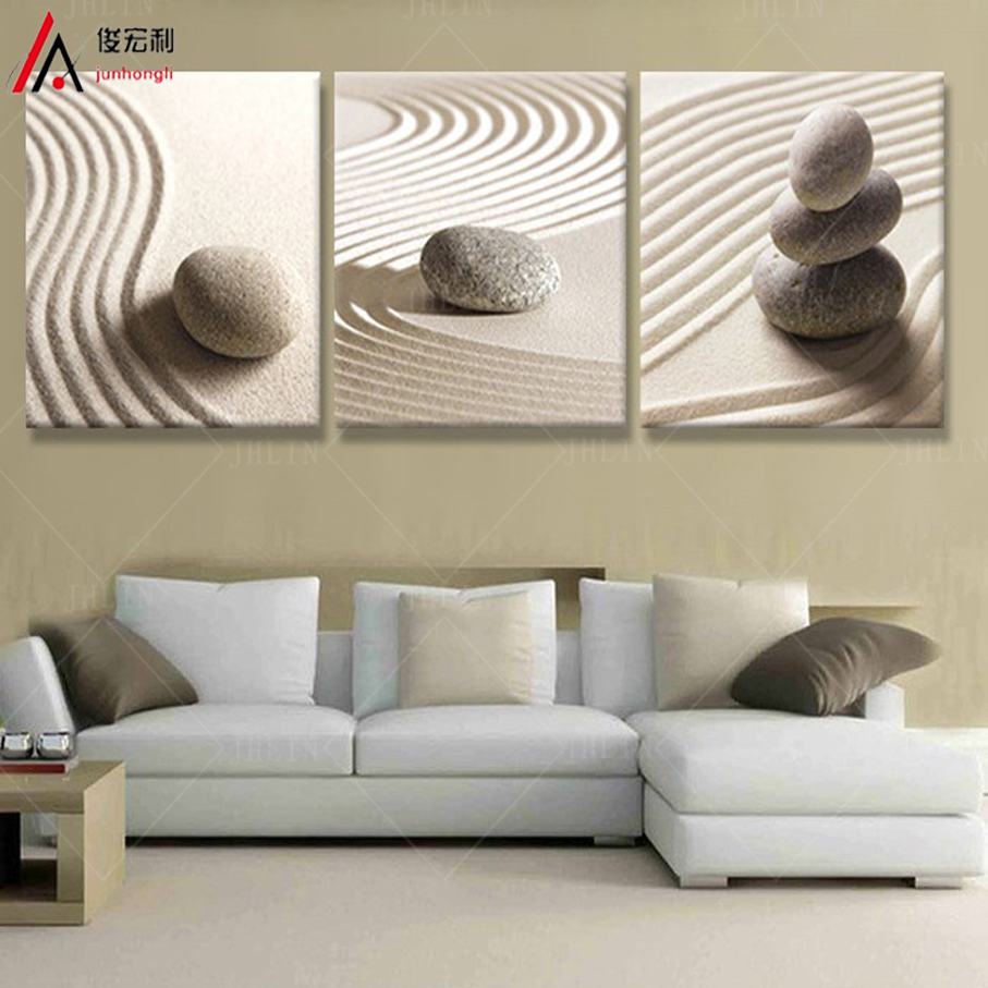 3 Piece Art Sandy Beach Pebbles Modular Picture Home Decor Canvas Prints On The Walls