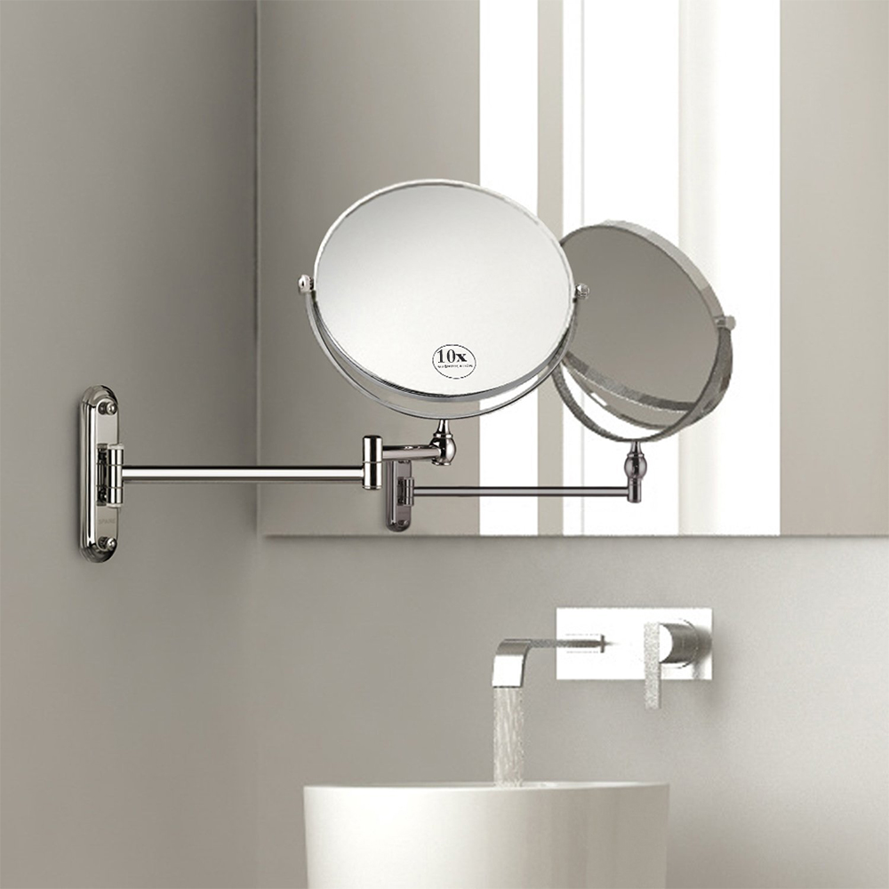 1pcs Bathroom Makeup Mirror 10x Magnification Wall Mounted Vanity 8 Inch Double Sided Swivel Espelho In Mirrors From Beauty Health On