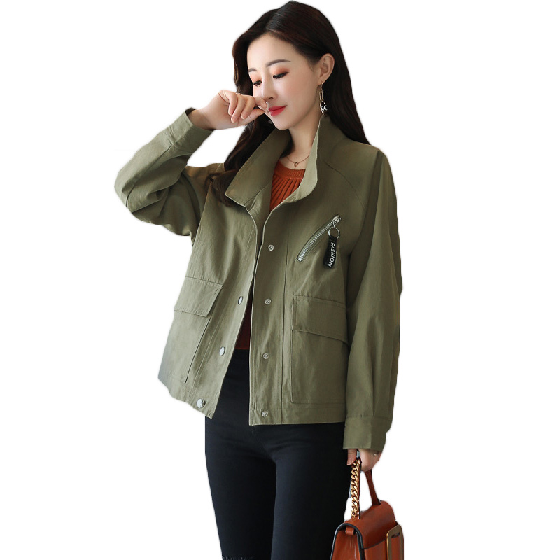 Short Windbreaker Female 2018 Spring Autumn Coats Women Outerwear New Casual Loose Stand Collar Basic Jacket For Girls Tops A675