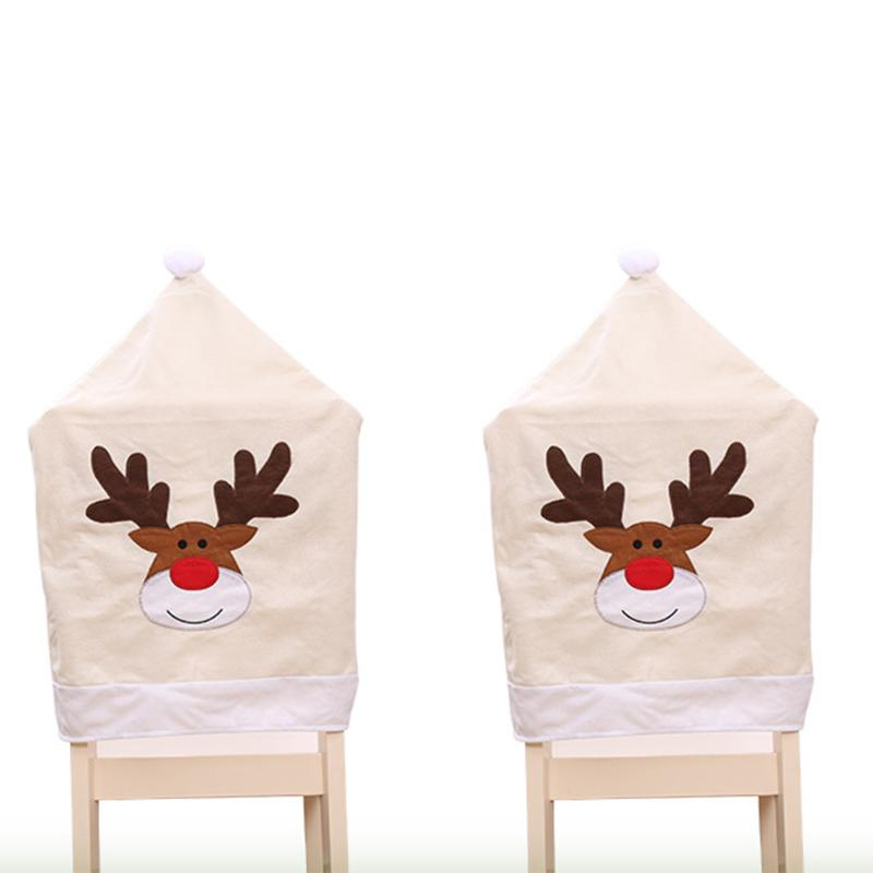 2Pcs/lot Christmas Chair Cover Cartoon Elk Embroidered Hat For Natal New Year Party Decoration Christmas Decorations Ornaments