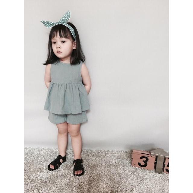 2017 baby girl dress e shorts calças conjunto de roupas de primavera verão 100% Algodão Crianças Tops e Calças Pin Azul Crianças roupas