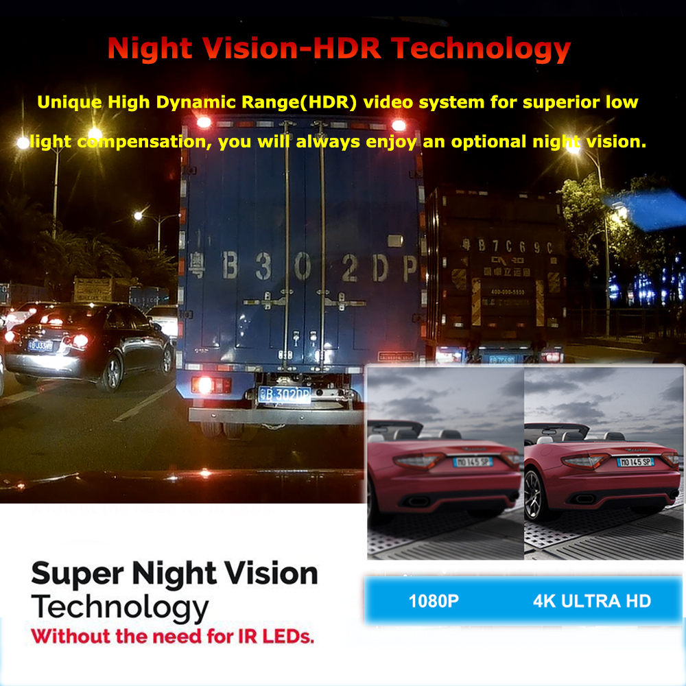 2 Inch Auto DVR Nachtsicht Dash Cam 4K 2160P Vorne Kamera mit 1080P Auto Hinten Kamera recorder Video Unterstützung GPS/WIFI Auto Kamera - 4
