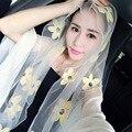 180 х 110 см женщины Вышивка шифон шарфы женщина Вышитые бренд шарф Fourlard Pareol Écharpe Платки Ислам ST