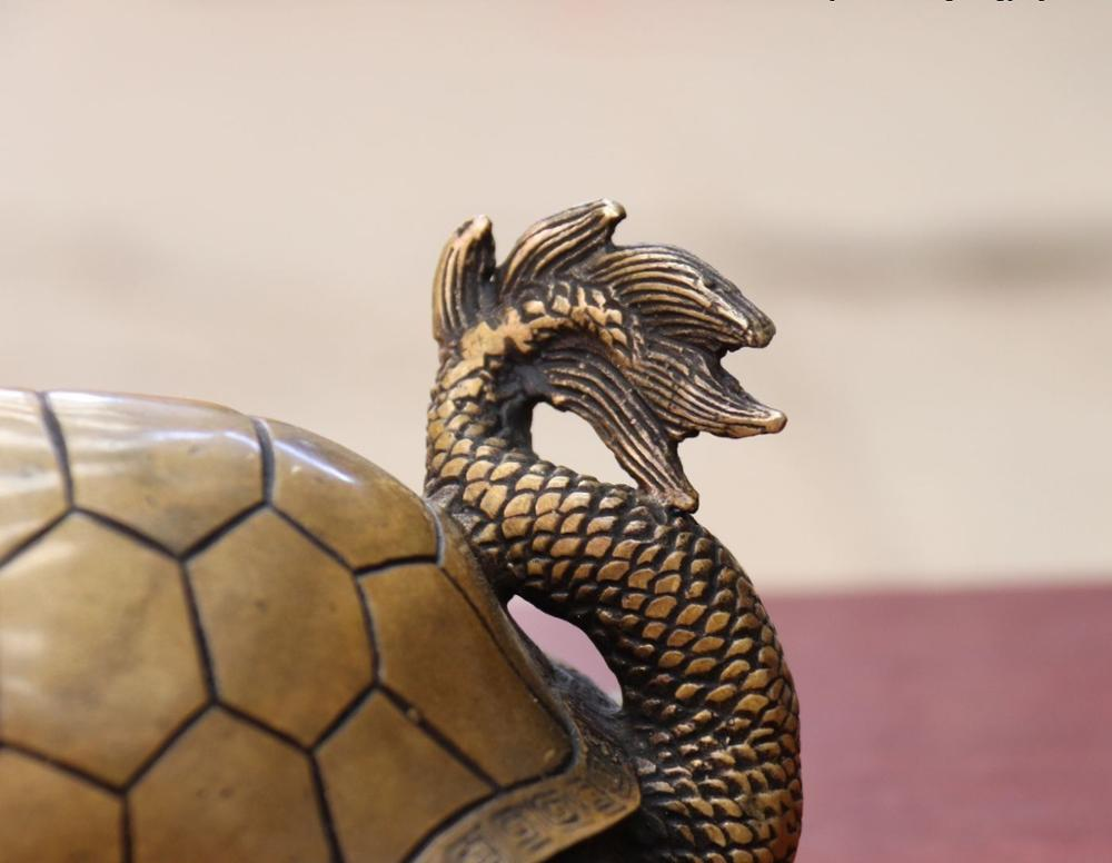 Chine FengShui Bronze cuivre richesse argent YuanBao Dragon tortue Statue - 6