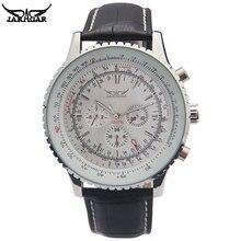 JARAGAR ساعات آلية فاخرة الرجال الكلاسيكية التلقائي 6 دبوس التقويم كبير الهاتفي حزام ساعة اليد montre أوم relojes suizos