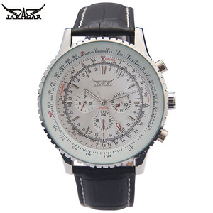 Image 1 - יוקרה JARAGAR מכאני שעונים גברים קלאסי אוטומטי 6 פינים לוח שנה גדול חיוג רצועת שעוני יד montre homme relojes suizos