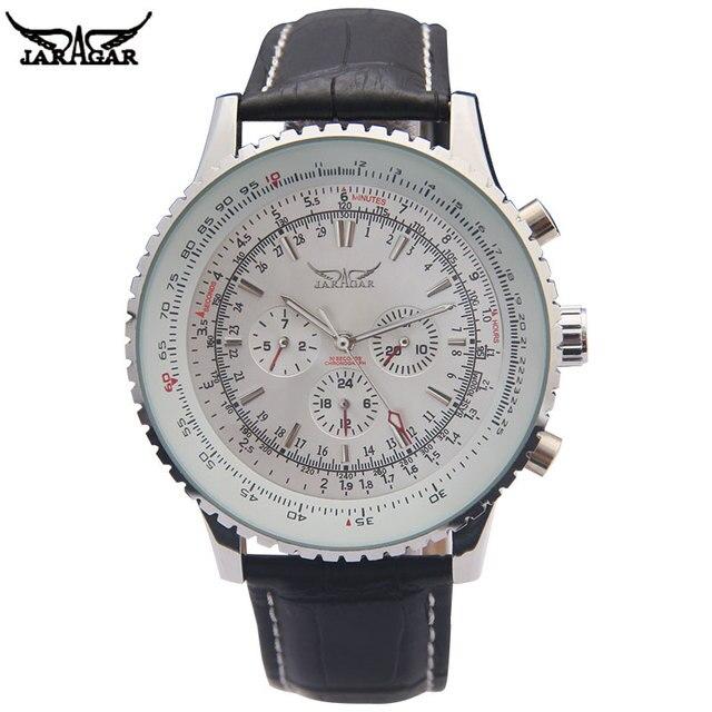 יוקרה JARAGAR מכאני שעונים גברים קלאסי אוטומטי 6 פינים לוח שנה גדול חיוג רצועת שעוני יד montre homme relojes suizos