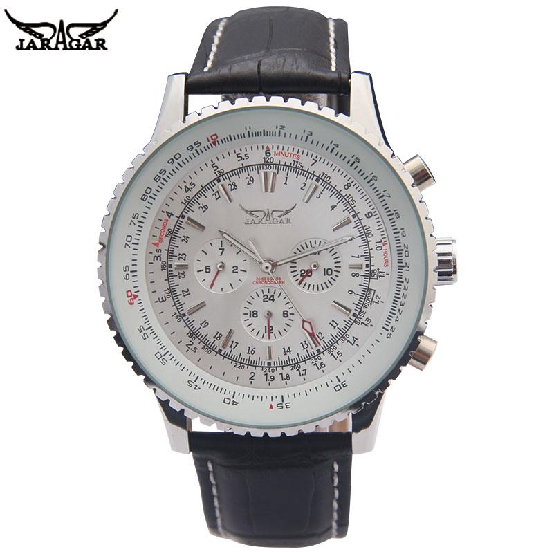 JARAGAR Luxury Mechanical Watches Men Classic Automatic 6 Pin Calendar Big Dial Strap Wristwatch Montre Homme Relojes Suizos