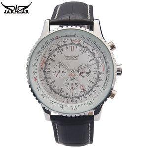 Image 1 - Jaragar高級機械式時計自動6ピンカレンダービッグダイヤルストラップ腕時計montreオムrelojes suizos