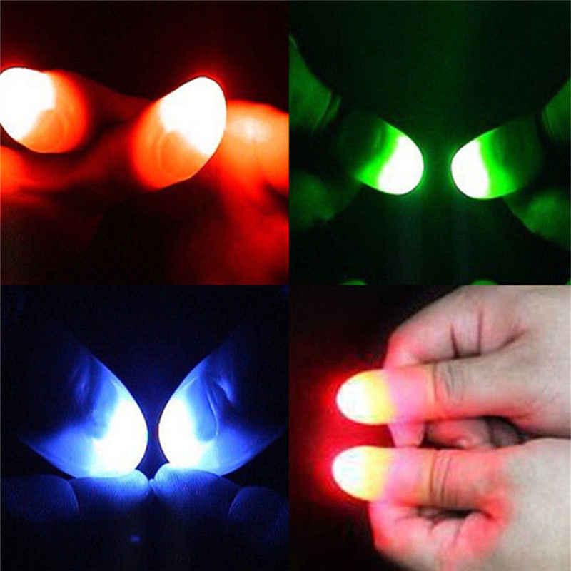 1 Pair Magia Creativa Giocattoli Light Up Consigli Pollice Con LED Rosso Magia Thumb Tip Luce Illusione Giocattoli Per Bambini 2 pcs Puntelli Divertente