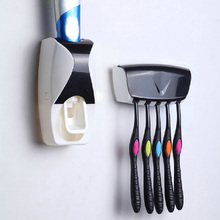 2016 1pcs Creative Automatic Lazy Toothpaste Dispenser Plastic Toothpaste Squeezer 5 Toothbrush Holder for font b