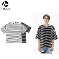 TOP Kanye West Men S Fashion Hiphop Hipster Urban Clothing Black White Striped Oversized T Shirt