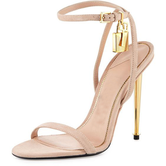 Luxury Brand Fashion Gold Lock Strappy High Heel Sandals Celebrity Shoes  Simple Strap Evening Sandal Women Sandalias Femininas 687929c64032
