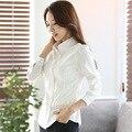 2016 nueva primavera las mujeres de carrera OL de manga larga camisa blanca femenina Delgada blusa blusa blusas de las mujeres más tamaño ropa mujer