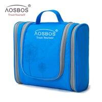 Aosbos Portable Waterproof Travel Cosmetic Bag Women Large Hanging Makeup Bag Organizer Men Nylon Toiletry Kits