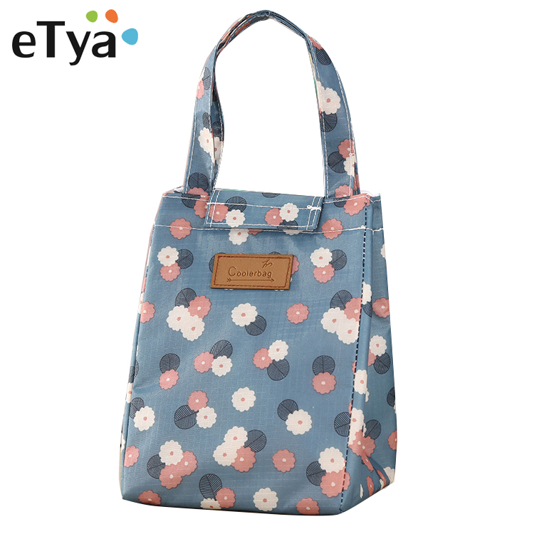 eTya Fashion Printing Lunch Bags for Women Men Thermal Food Picnic insulation Bag Cooler Flower Big Capacity Storage Tote Bags