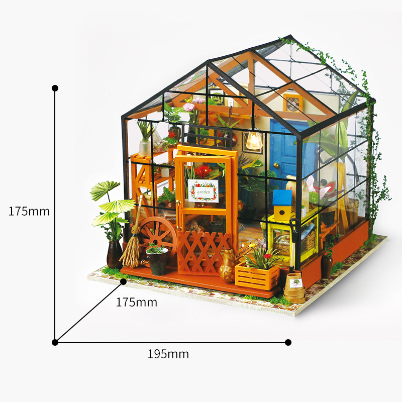 Wooden Jigsaw Puzzle Toys Exquisite DIY Miniature House Furnishing Hand-Assembled Model Personalized KathyS Green HouseWooden Jigsaw Puzzle Toys Exquisite DIY Miniature House Furnishing Hand-Assembled Model Personalized KathyS Green House