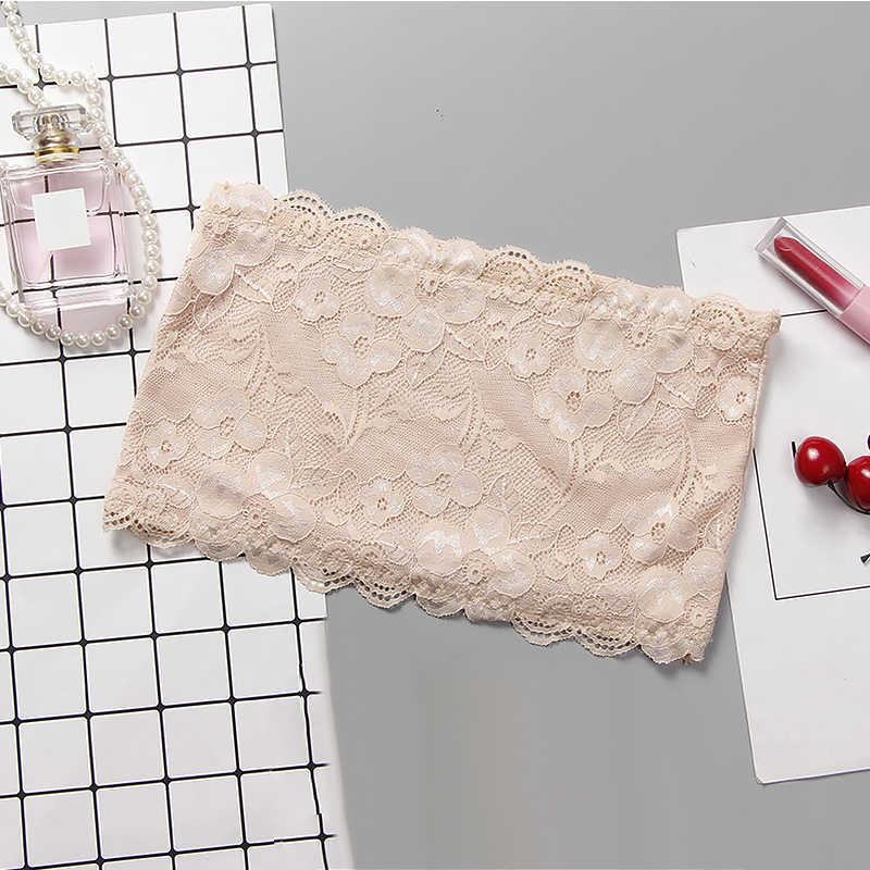 תלמידי נערות רגיל צבע תחרה פרח סטרפלס תחתונים חשוף כתף טמבל חולצת סטרפלס כל התאמה תחרה פשוט תחתונים