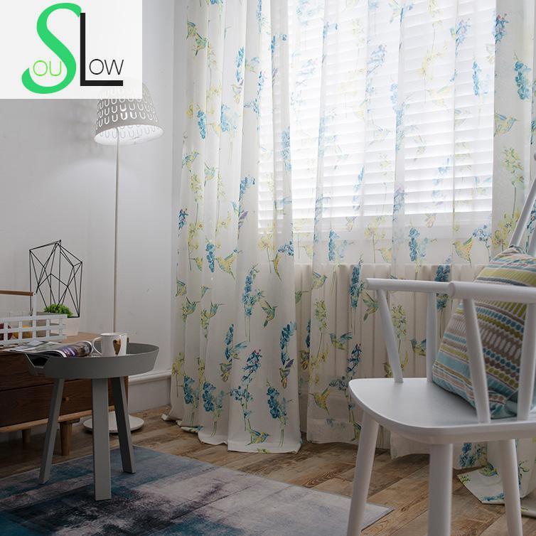 Hummingbird Kitchen Curtains: Slow Soul Pink Blue Hummingbird Curtain Modern Quality