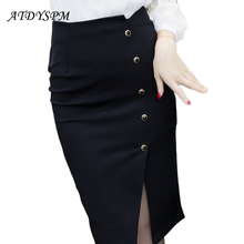 Elegant Women Vintage Office Lady OL Skirts High Waist Buttons Slit Pencil